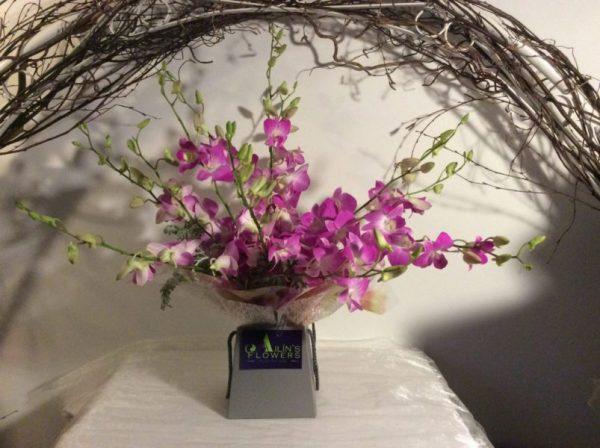 Purple-dendrobium-orchid-birthday-bouque